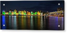 Acrylic Print featuring the photograph Willemstad And Queen Emma Bridge At Night by Adam Romanowicz