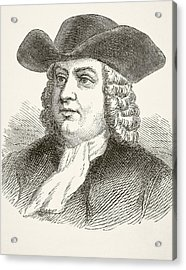 William Penn 1644 To 1718, English Acrylic Print by Vintage Design Pics