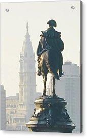 William Penn And George Washington - Philadelphia Acrylic Print by Bill Cannon