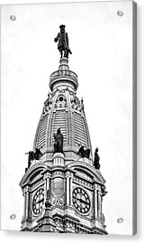 William Penn Statue Atop Philadelphia City Hall Acrylic Print by Olivier Le Queinec