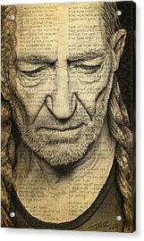 Willie Nelson Drawing Acrylic Print by Jeffrey St Romain