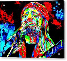 Willie Nelson Acrylic Print by Mike OBrien