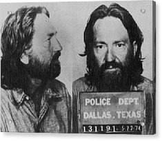 Willie Nelson Mug Shot Horizontal Black And White Acrylic Print