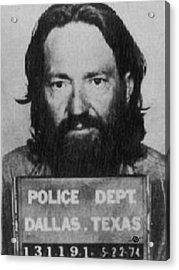 Willie Nelson Mug Shot Vertical Black And White Acrylic Print