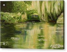 Willow At Monet Acrylic Print by Lisa Konkol