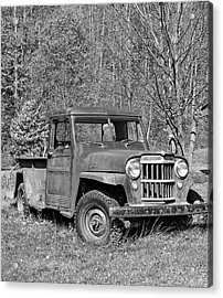 Willys Jeep Pickup Truck Monochrome Acrylic Print