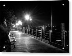 Wilmington Riverwalk At Night In Black And White Acrylic Print