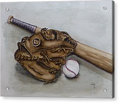Wilson Baseball Glove And Bat Acrylic Print