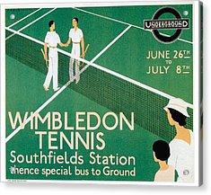 Wimbledon Tennis Southfield Station - London Underground - Retro Travel Poster - Vintage Poster Acrylic Print