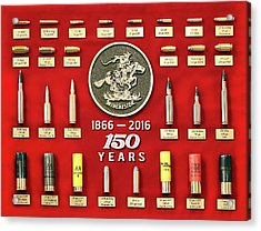 Winchester 150th Anniversary Commemorative Cartridge Board Acrylic Print