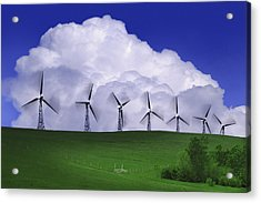 Wind Generators With Clouds In Acrylic Print by Don Hammond