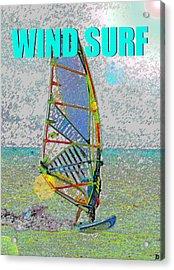Wind Surf Smart Phone Blue Text Acrylic Print