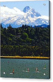 Wind Surfing Mt. Hood Acrylic Print by David Lee Thompson