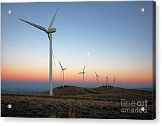 Wind Turbines At Moonrise Acrylic Print