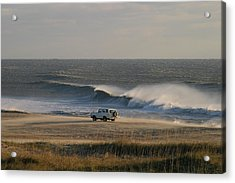 Wind, Waves And Fisherman In An Suv Acrylic Print by Skip Brown