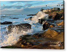 Acrylic Print featuring the photograph Windansea Beach At High Tide by Eddie Yerkish