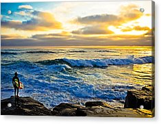 Windansea Sunset Surfer Acrylic Print by Kelly Wade
