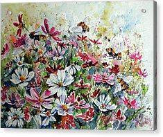 Windflowers With Bees Acrylic Print