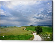 Winding Road To A Destination In A Tuscany Landscape Acrylic Print