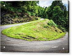 Winding Road With Sharp Bend Going Up The Mountain Acrylic Print by Semmick Photo