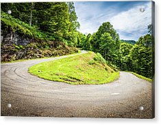 Winding Road With Sharp Curve Going Up The Mountain Acrylic Print by Semmick Photo