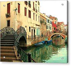 Winding Through The Watery Streets Of Venice Acrylic Print by Barbie Corbett-Newmin