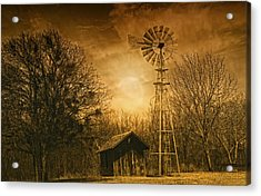 Windmill At Sunset Acrylic Print by Iris Greenwell
