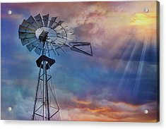 Acrylic Print featuring the photograph Windmill At Sunset by Susan Candelario