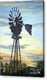 Acrylic Print featuring the painting Windmill Capture The Wind by Judy Filarecki