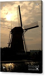 Windmill In Silhouette Acrylic Print by Andy Smy