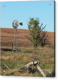 Windmill With Log Acrylic Print
