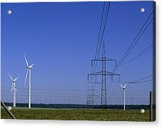 Windmills And High Voltage Transmission Acrylic Print by Norbert Rosing