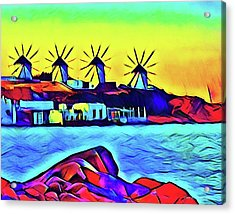 Windmills At Mykonos Acrylic Print