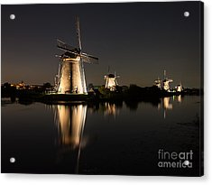 Windmills Illuminated At Night Acrylic Print