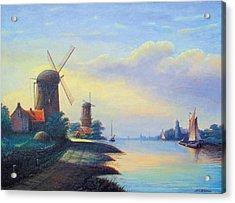 Windmills On The Rhine Acrylic Print by Nick Diemel