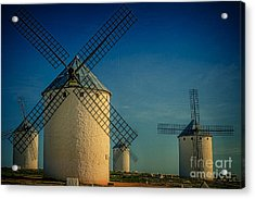 Acrylic Print featuring the photograph Windmills Under Blue Sky by Heiko Koehrer-Wagner