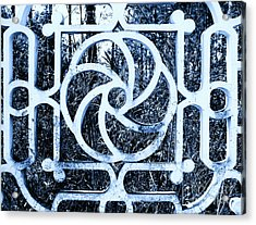 Window #4 Myknonos Blue Angeloffj Acrylic Print by Joy Angeloff