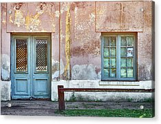 Acrylic Print featuring the photograph Window And Door Of Old Train Station by Eduardo Jose Accorinti