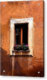 Window And Flowers Rome  Acrylic Print by Xavier Cardell