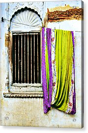 Window And Sari Acrylic Print by Derek Selander