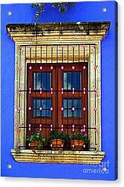 Window In Blue With Baubles Acrylic Print by Mexicolors Art Photography