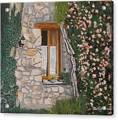 Acrylic Print featuring the painting Window Ledge  France by Betty-Anne McDonald