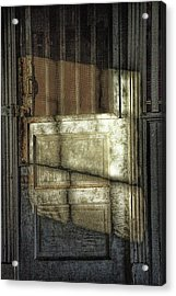 Window Light And Shadows On Locked Door Acrylic Print by Randall Nyhof