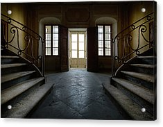 Acrylic Print featuring the photograph Window Light On Dark Stairs by Dirk Ercken
