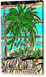 Window Loving Fern Acrylic Print by Al Goldfarb