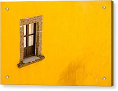 Window On A Yellow Wall. Acrylic Print