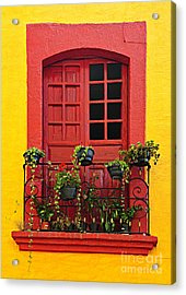 Window On Mexican House Acrylic Print by Elena Elisseeva