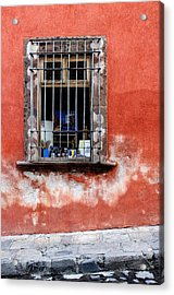Window On Red Wall San Miguel De Allende, Mexico Acrylic Print by Carol Leigh