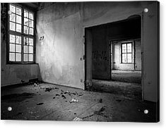 Window To Window - Abandoned School Building Bw Acrylic Print by Dirk Ercken