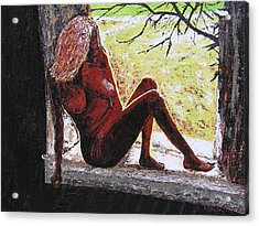 Window View Acrylic Print by Ricklene Wren